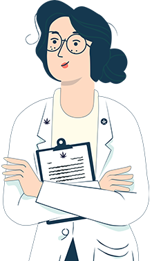 illustration of a female lab researcher in a white coat holding a clipboard
