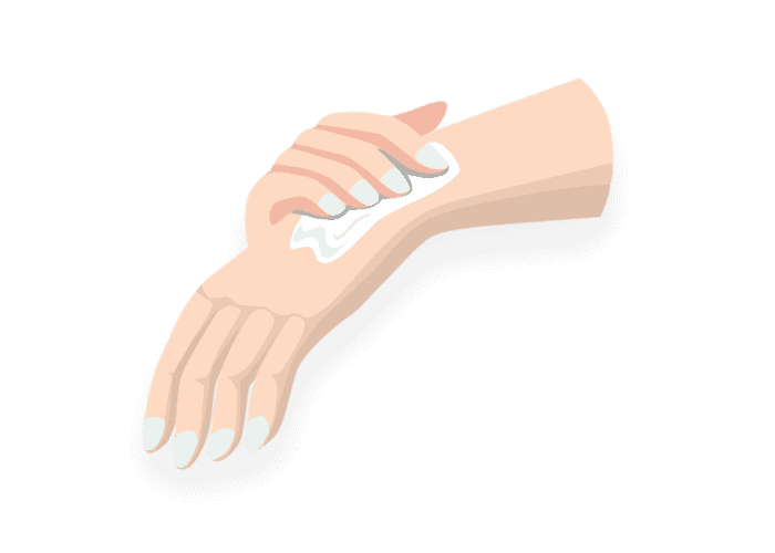 illustrations of  a hand showing how to apply a cream