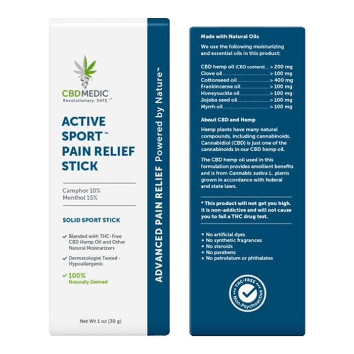 Back view of CBDMedic Active Sport Pain Relief Stick