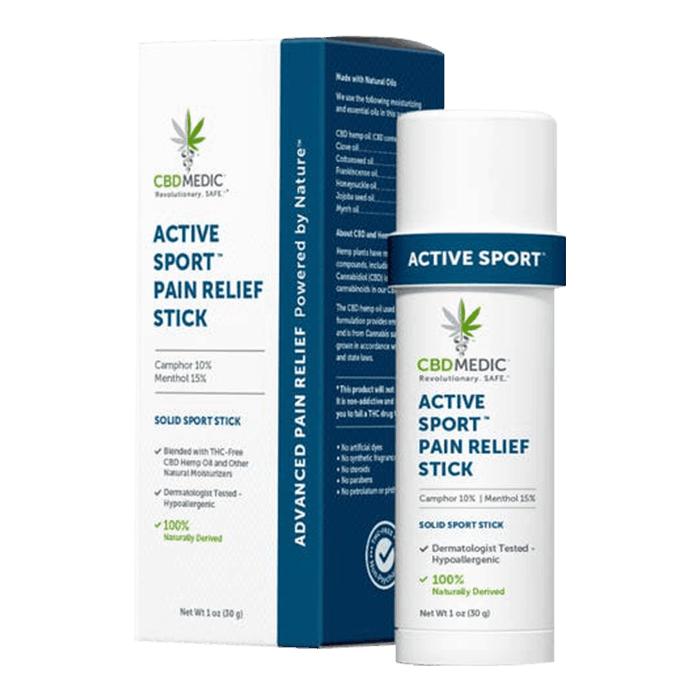 Front view of CBDMedic Active Sport Pain Relief Stick