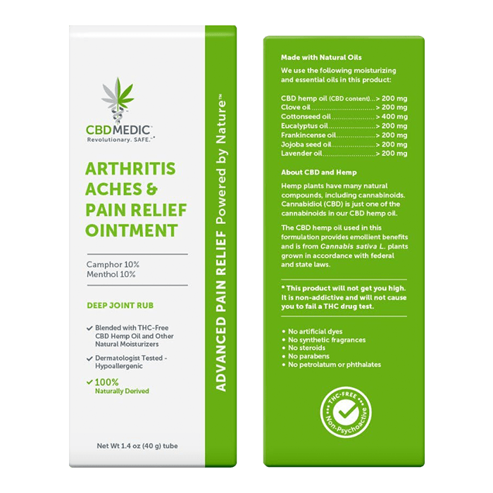 Back view of CBDMedic Arthritis Aches & Pain Relief Ointment