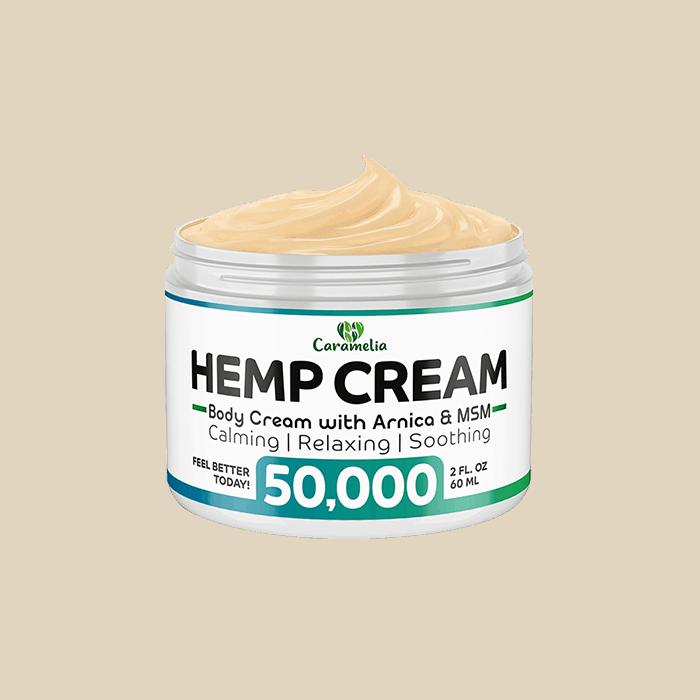 Front view of Caramelia Hemp Body cream 50000mg