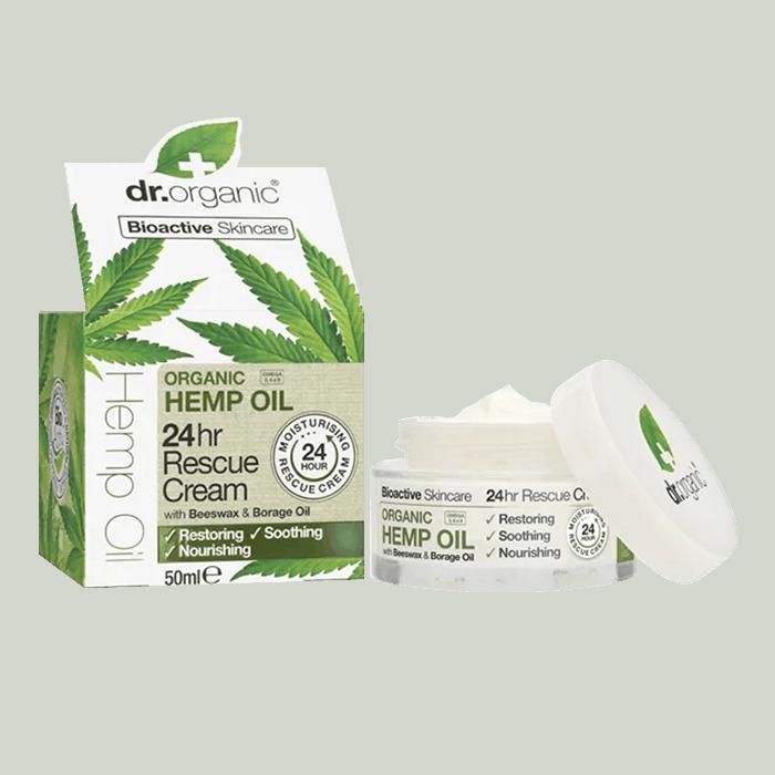 Back view of Dr Organic hemp oil 24hr rescue cream