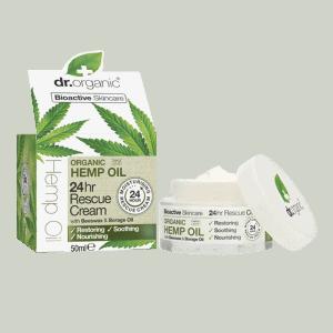 Front view of Dr Organic hemp oil 24hr rescue cream