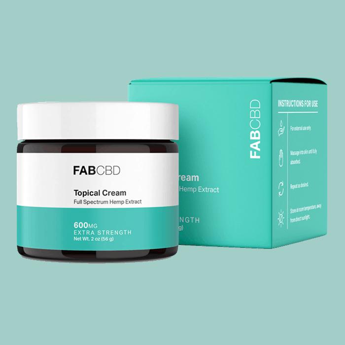 Front view of FABCBD topical cream full spectrum hemp extract