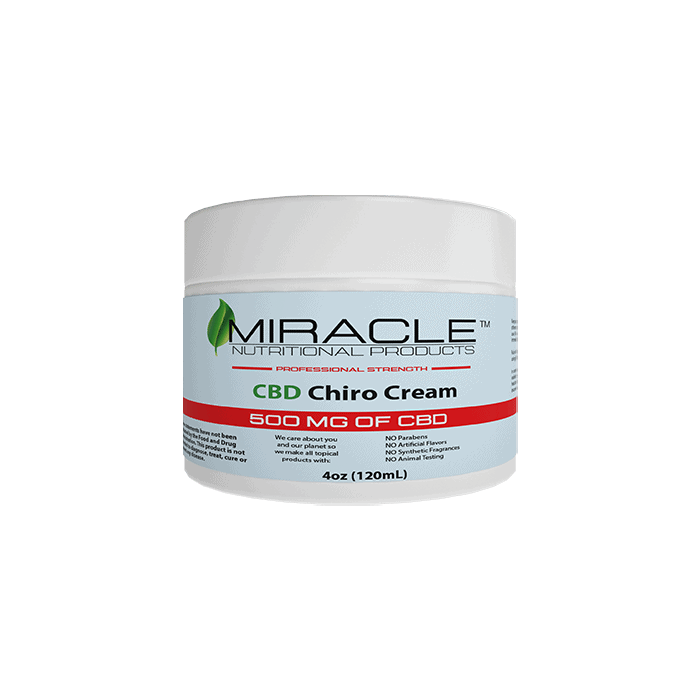 Front view of Miracle CBD Chiro Cream