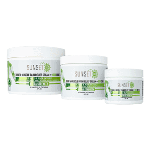 Front view of Sunset CBD Joint & Muscle Pain Relief Cream