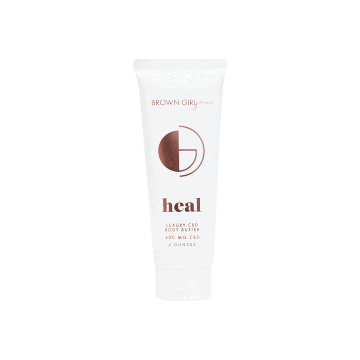 front view of brown girl jane heal body butter