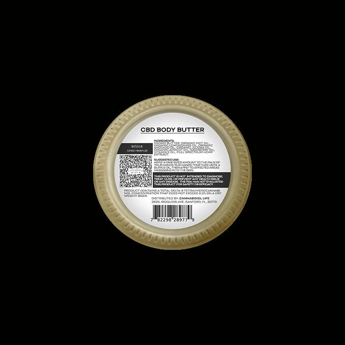back view of cannabidiol life cbd body butter