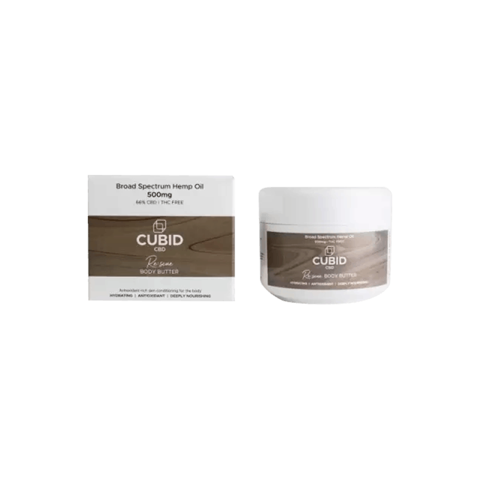 back view of cubid cbd rescue body butter