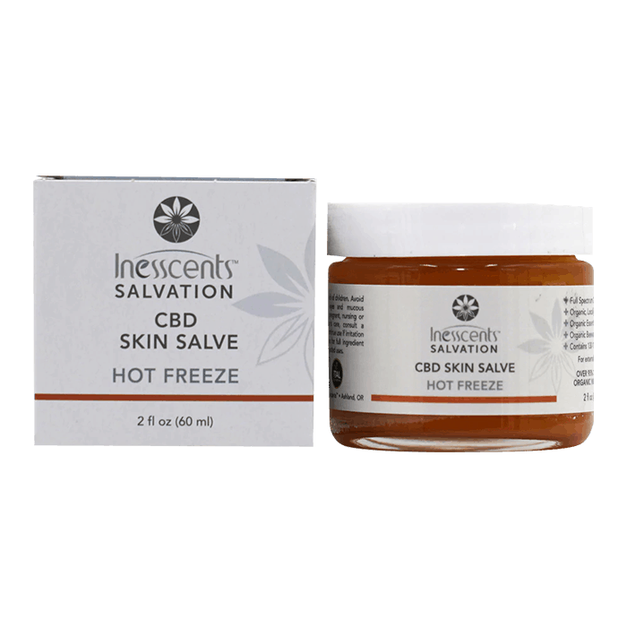 Front view of Inesscents-Salvation-Hot-Freeze-CBD-Skin-Salve
