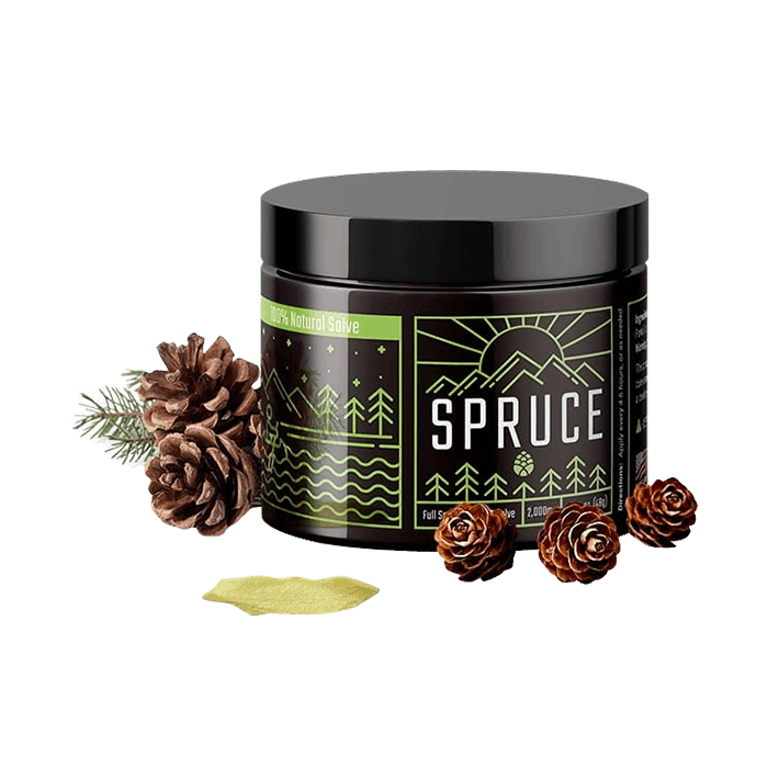Front view of Spruce-CBD-SALVE