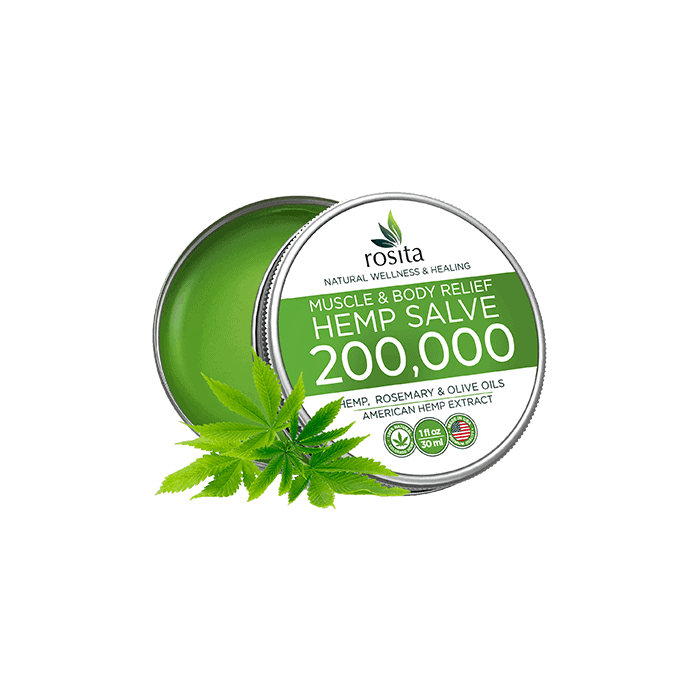 back view of rosita muscle & body relief hemp salve 200000mg