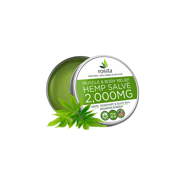 back view of rosita muscle & body relief hemp salve 2000mg